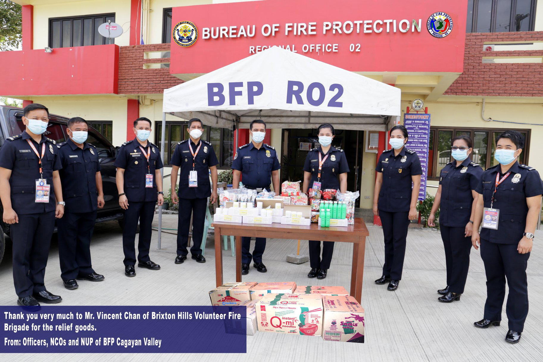 Donation from Mr. VINCENT CHAN of Brixton Hills Volunteer Fire Brigade